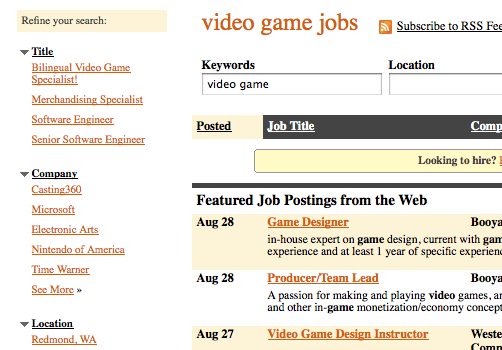 video game job listings