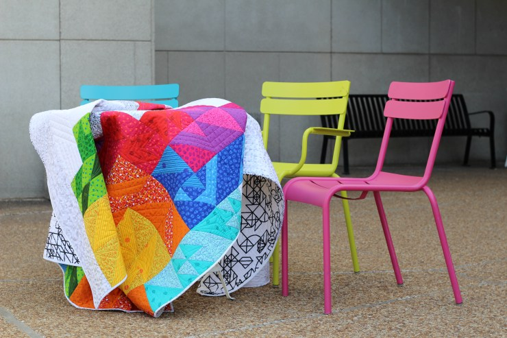 retro tetro quilt by geeky bobbin with chairs