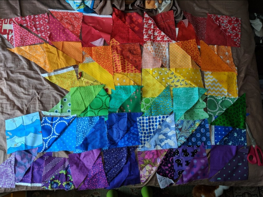 geeky bobbin rainbow progress pride quilt design using color value