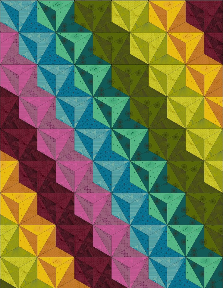intersectional quilt diagonal hexagon layout featuring Quantum by Giucy Giuce
