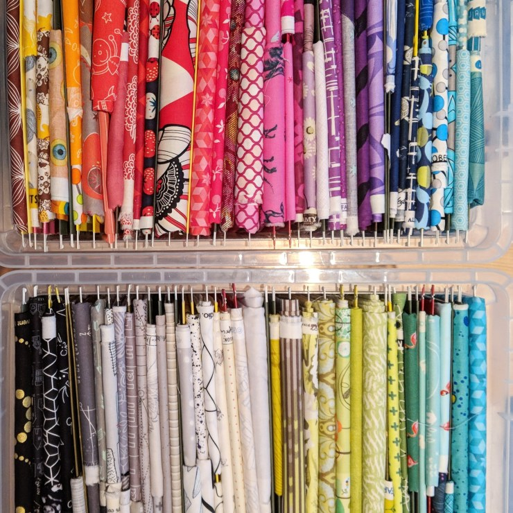 The perfect way to store fabric yardage - geeky bobbin