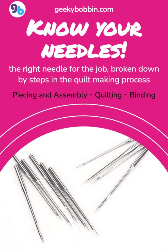geekybobbin.com Know your needles! The right sewing machine needle for the job, broken down by steps in the quilt making process. Piecing and Assembly. Quilting. Binding. Sewing machine needle tips for quilters