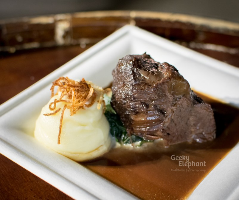 Savour 2015: Midsummer House—Braised Ox Cheek, Pomme Puree, Crispy Shallot and Red Wine Sauce.