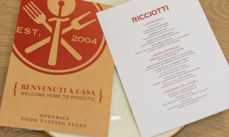 Ricciotti Pizza Pasta Grill: Tasting menu
