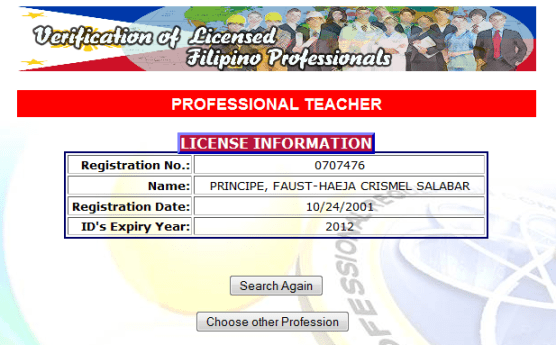 PRC Online Verification - Professional Teacher License Information