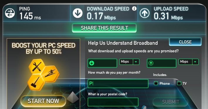 Speedtest Sun Broadband results AM