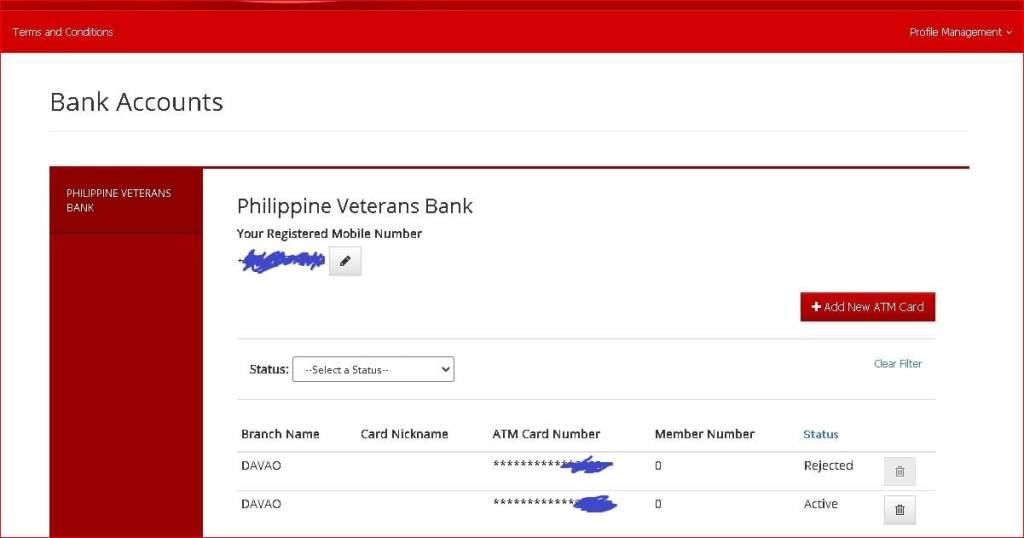 Philippine Veterans Bank account