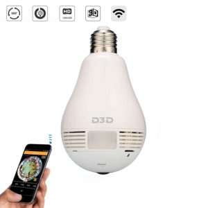D3D Wireless Panoramic Bulb 360° Ip Camera, hidden camera india
