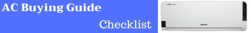 AC buying Guide Checklist India