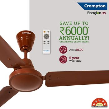 Crompton Energion HS 48-inch Energy Efficient 5 Star Rated High Speed BLDC Ceiling Fan with Remote