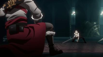 Castlevania Netflix - Alucard fighting Trevor