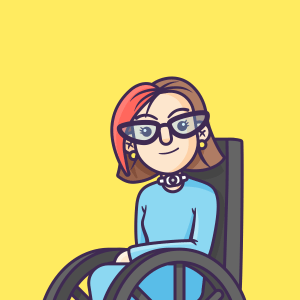 Erin in a wheelchair, cartoon style with a blue dress and short red hair