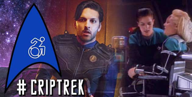 #CripTrek logo with a Star Trek insignia, and a wheelchair icon in the middle. Images of DS9's Melora and Discovery's Ash Tyler as well