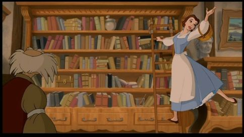 Belle on a library ladder