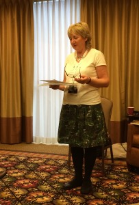 Anne Charnock during her reading at Norwescon 37