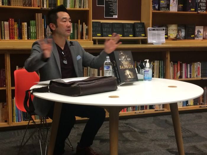 Chu chats with the audience during his author event at Powell's books.