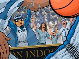 A client celebrates a Duke win!