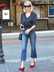 Photo Credit [Pinterest] Emma Roberts in silk shirt and cropped jeans