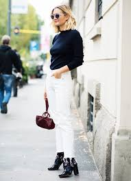 Photo Credit [Pinterest] White cropped jeans with boots