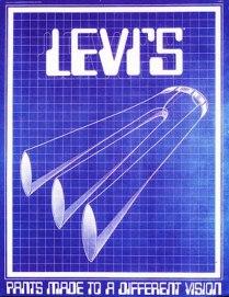 "1970s, ""3 Legged Levi's."" Artist: Victor Moscoso, Lettering: Tony Naganuma"