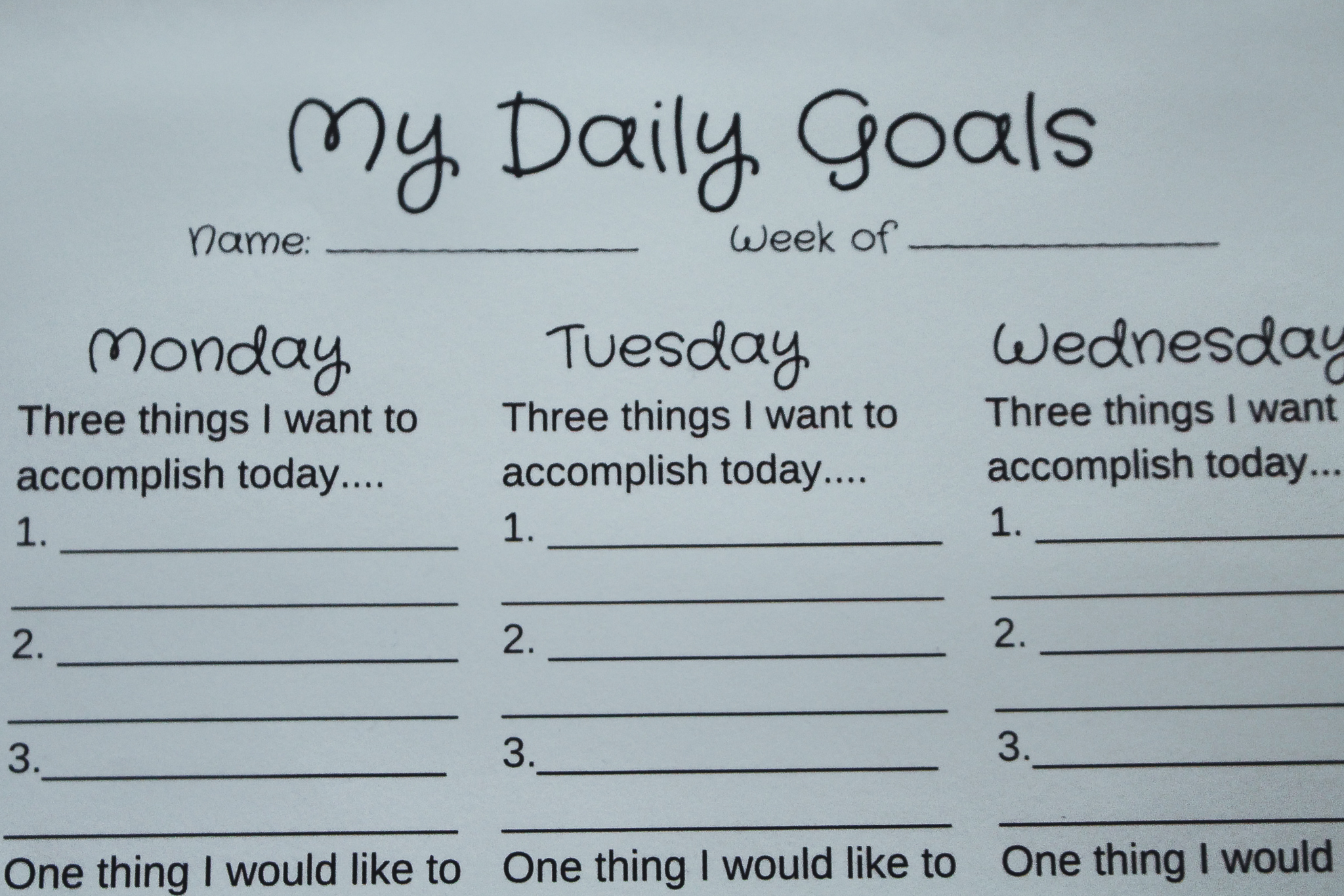 Daily Goals Printable Worksheet