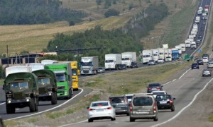 The 280-truck convoy on the road in Russia