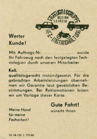 Autoreparatur-Servicekarte, 1980er Jahre