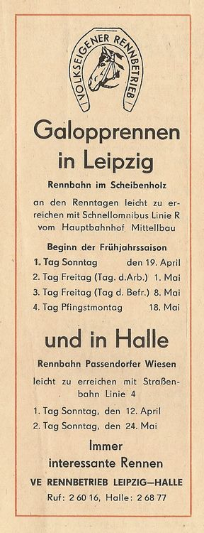 Pferderennen in Leipzig und Halle, Anzeige vom April 1964