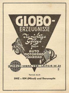 Globo-Anzeige von 1953