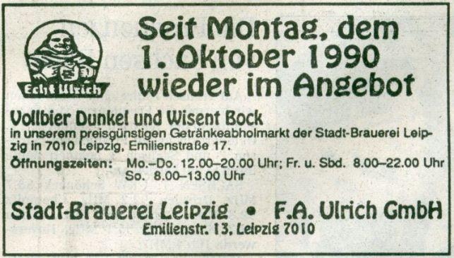 Anzeige aus der LVZ vom 03.10.1990