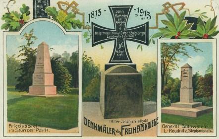 Denkmäler in Stünz und Reudnitz, historische Postkarte