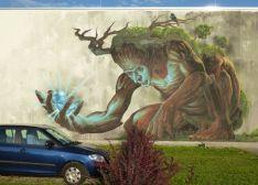 Graffiti an der Seilbahn