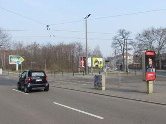 Heutige Situation, links Prager, rechts Riebeckstraße