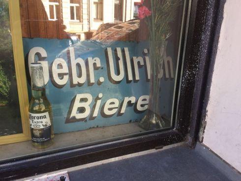 Werbeschild der Gebr. Ulrich im Juli 2020 in der Industriestraße