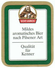 Echt Ulrich Pilsener (Rückseite), 1990er Jahre