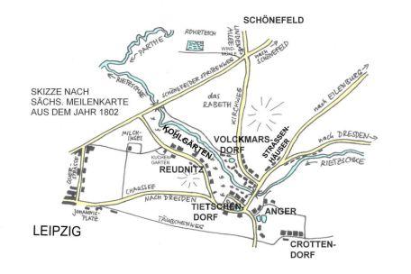 Situation um 1802 (nach Sächs. Meilenblatt)