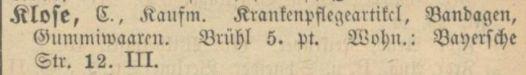 1900: Carl Kloses erster Eintrag im Adressbuch