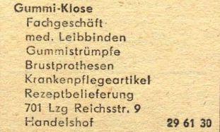 1978: Gummi-Klose im Branchenfernsprechbuch des Bezirks Leipzig