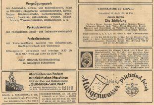 Gummi-Klose-Anzeige im Sächsischen Tageblatt vom 12.04.1970