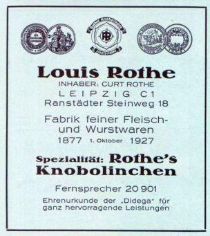 Fleischerei Rothe im Leipziger Adressbuch 1929