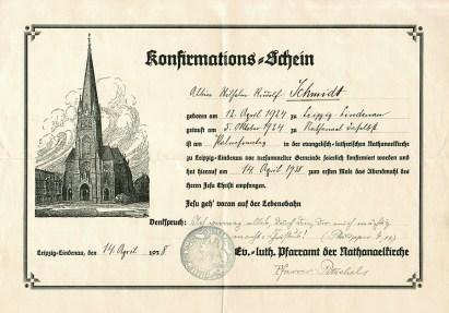 Konfirmationsschein, Leipzig-Lindenau 1938
