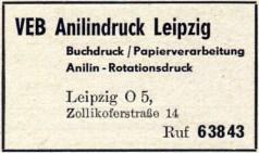 VEB Anilindruck Leipzig, Anzeige von 1955