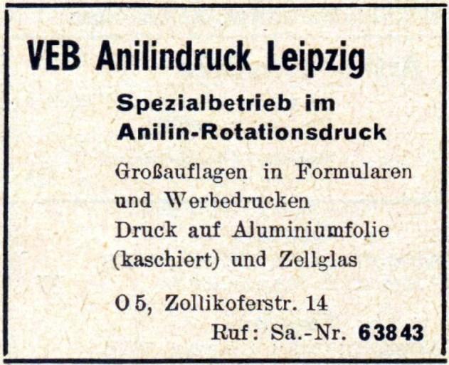 VEB Anilindruck Leipzig, Anzeige von 1960