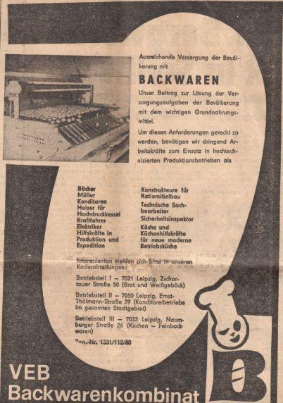Anzeige des Backwarenkombinats