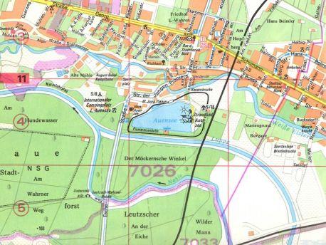 Unterstellpilz auf einem Stadtplan von 1983