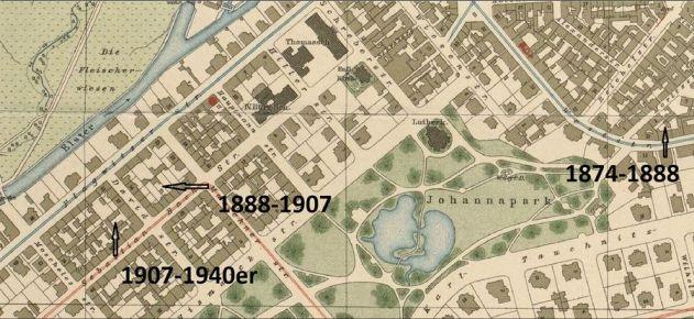Schilbachs Stationen auf einem Stadtplan von 1920