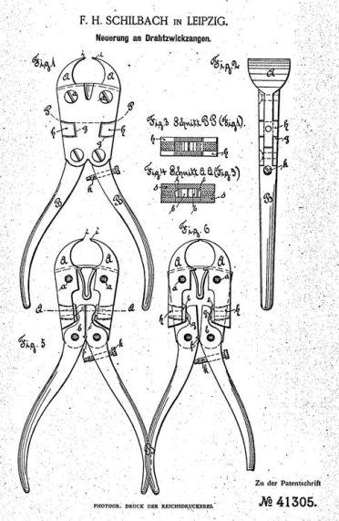 Schilbachs Zangen-Patent von 1887 (Abb.: depatisnet.de)