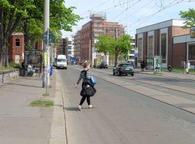 April 2019: Zschochersche Straße, Blick aufs Sudhaus