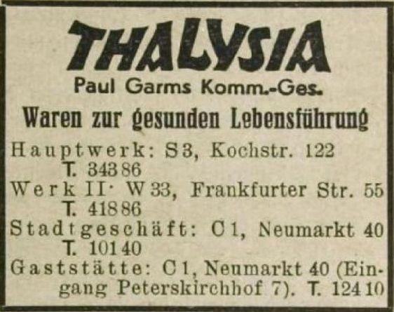 Thalysia-Anzeige aus dem Jahr 1943