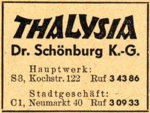 Thalysia-Anzeige aus dem Jahr 1952